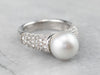 Grey Pearl Diamond White Gold Statement Ring