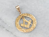 Ornate Masonic Gold Medal Pendant