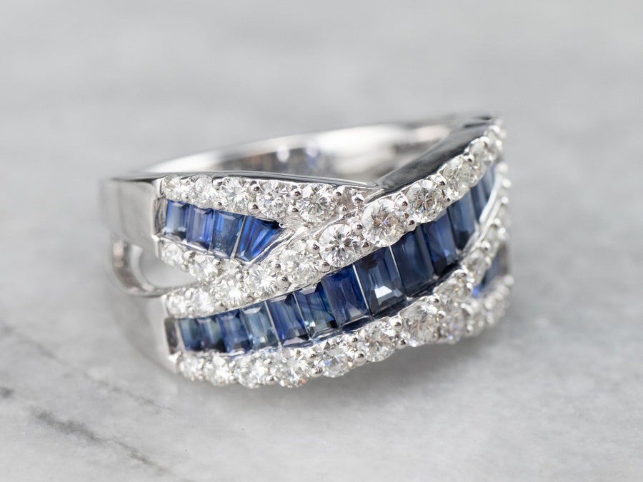 Sapphire Diamond White Gold Statement Band