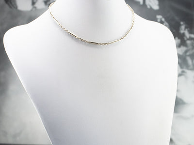 Art Deco Bar Link White Gold Watch Chain