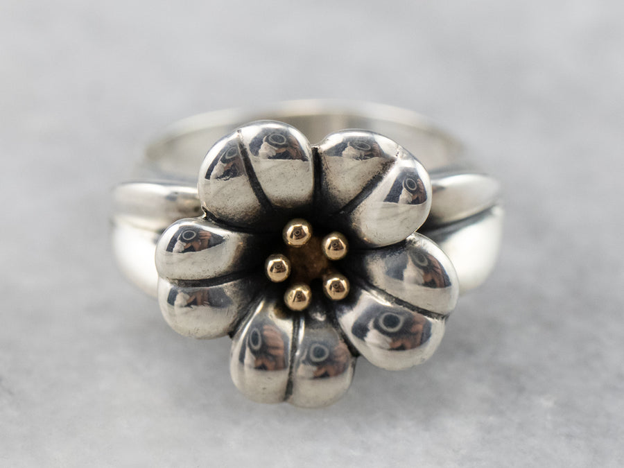 Sterling Silver and Gold Flower Ring