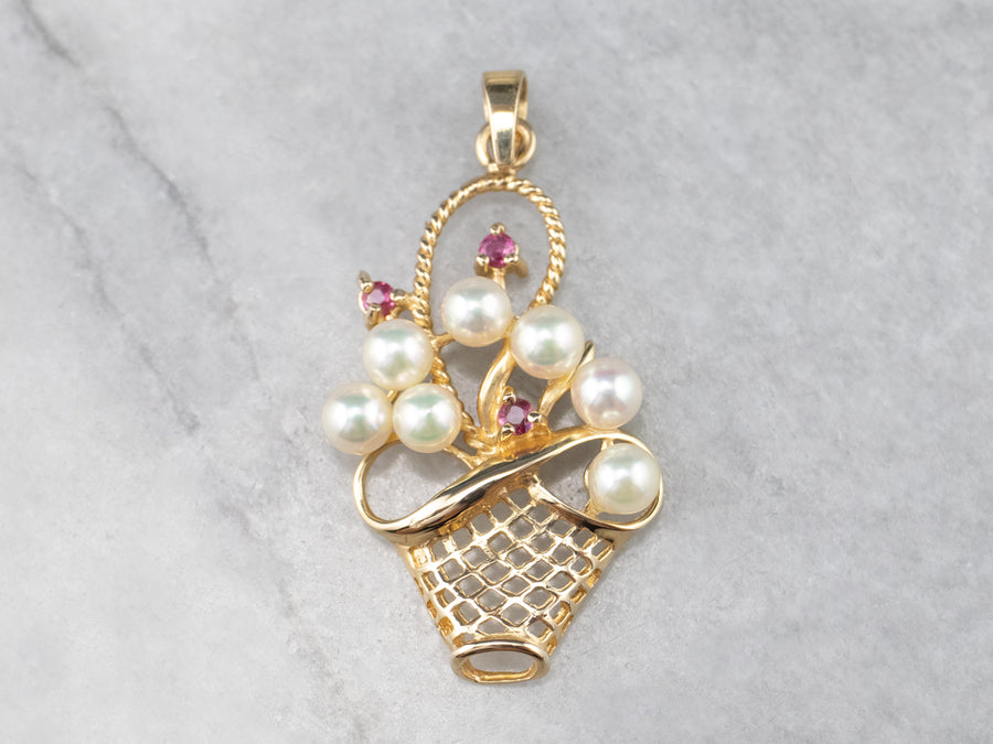Gold Ruby and Pearl Basket Pendant