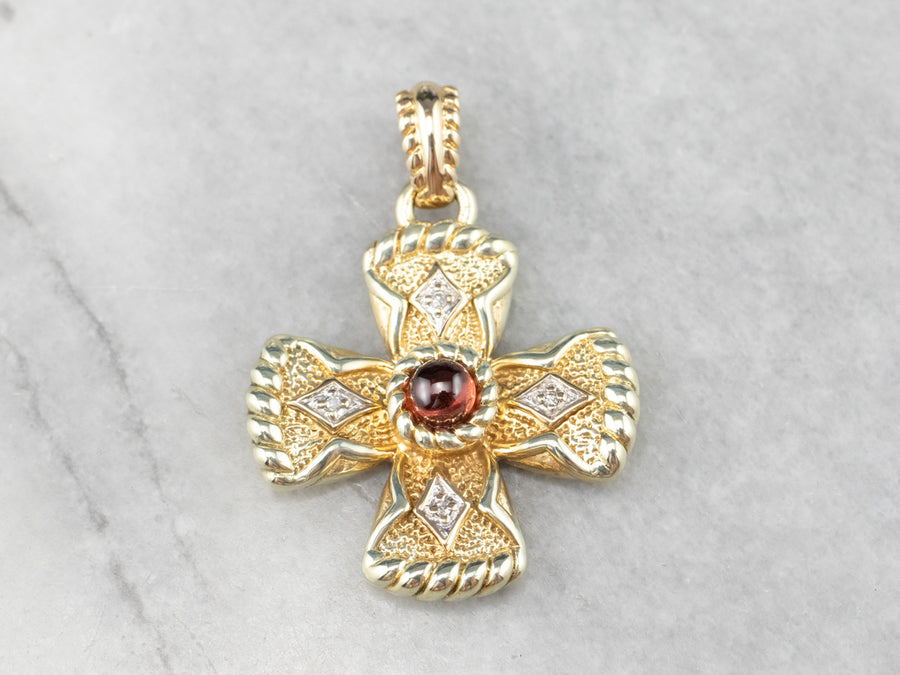 Garnet Diamond Gold Cross Pendant