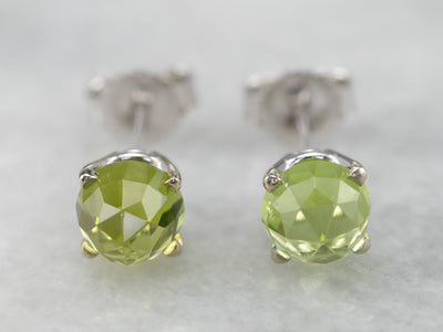 Bullet Cut Peridot White Gold Stud Earrings