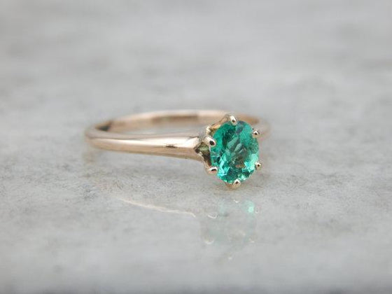 Colombian Emerald in an Antique Solitaire Engagement Ring