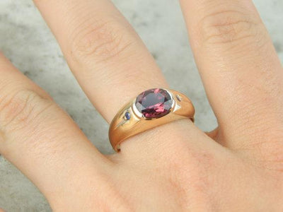 Luscious Rhodolite Garnet and Diamond Ring for Him or Her