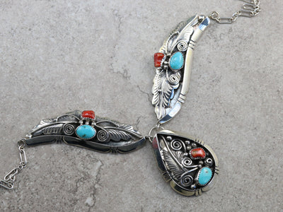 Unisex Navajo Turquoise and Coral Necklace