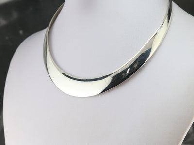 Wide Sterling Silver Collar Necklace