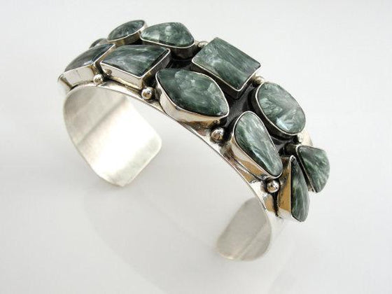 Seraphinite Native American Cuff Bracelet