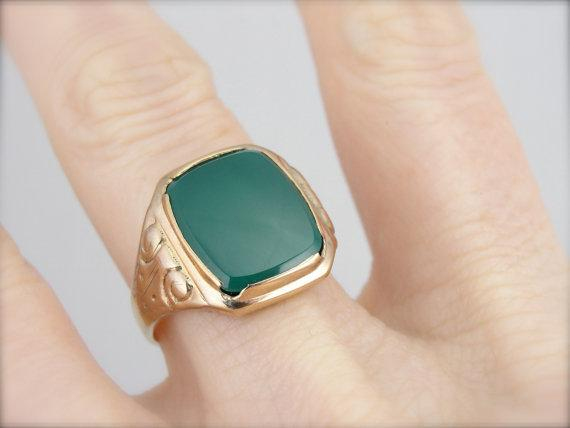 Vintage Mens Green Onyx, Mid-Century Ring