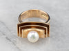 Modernist Pearl Gold Statement Ring