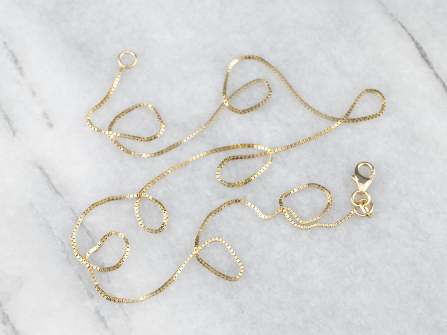 14K Gold Thin Box Chain Necklace