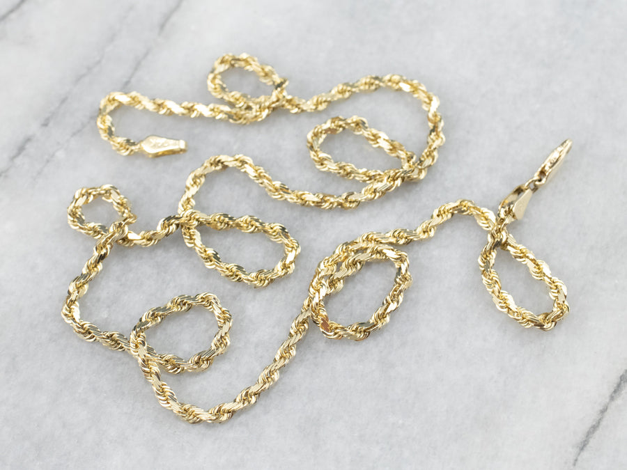 14K Gold Sparkling Rope Chain Necklace
