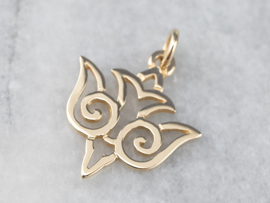 14K Gold Filigree Stylized Dove Charm
