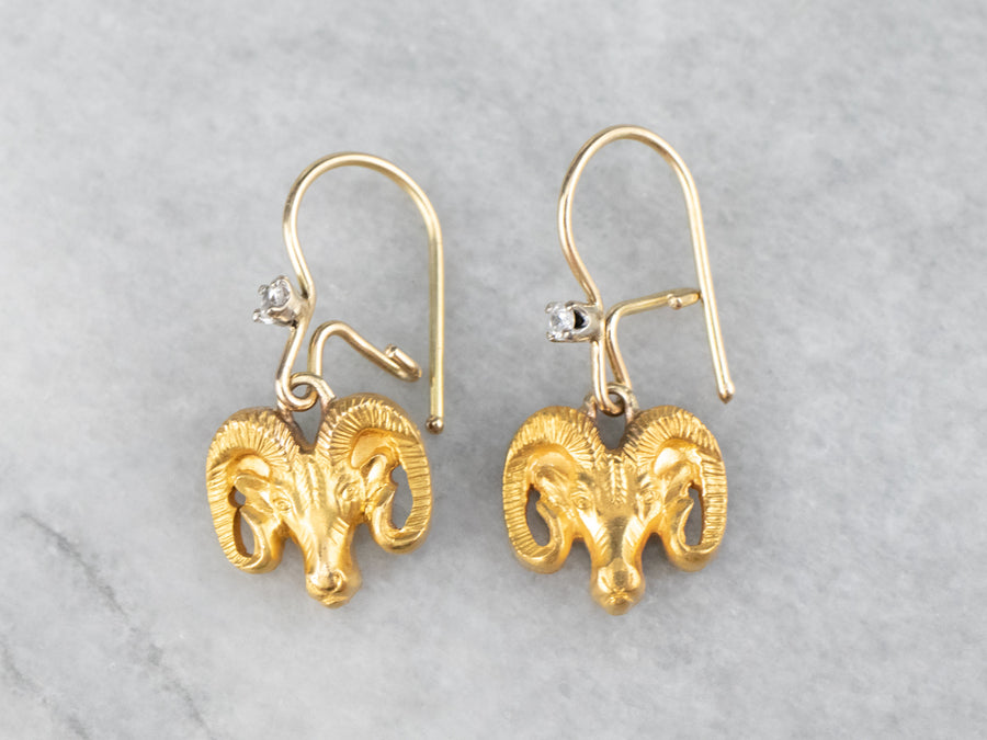 Diamond Aries Ram Gold Drop Earrings
