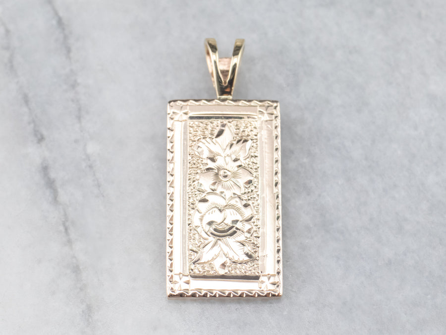 Floral Gold Rectangle Medal Pendant