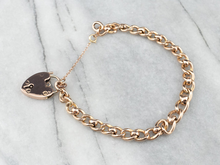 Victorian Rose Gold Heart Lock Chain Bracelet