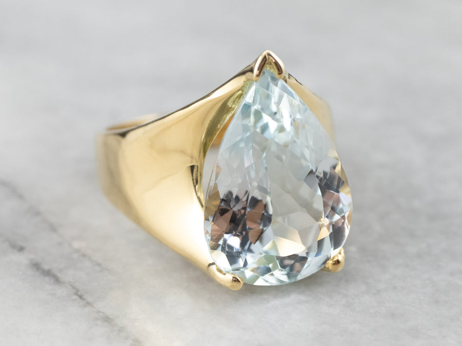 Pear Cut Blue Topaz Gold Statement Ring