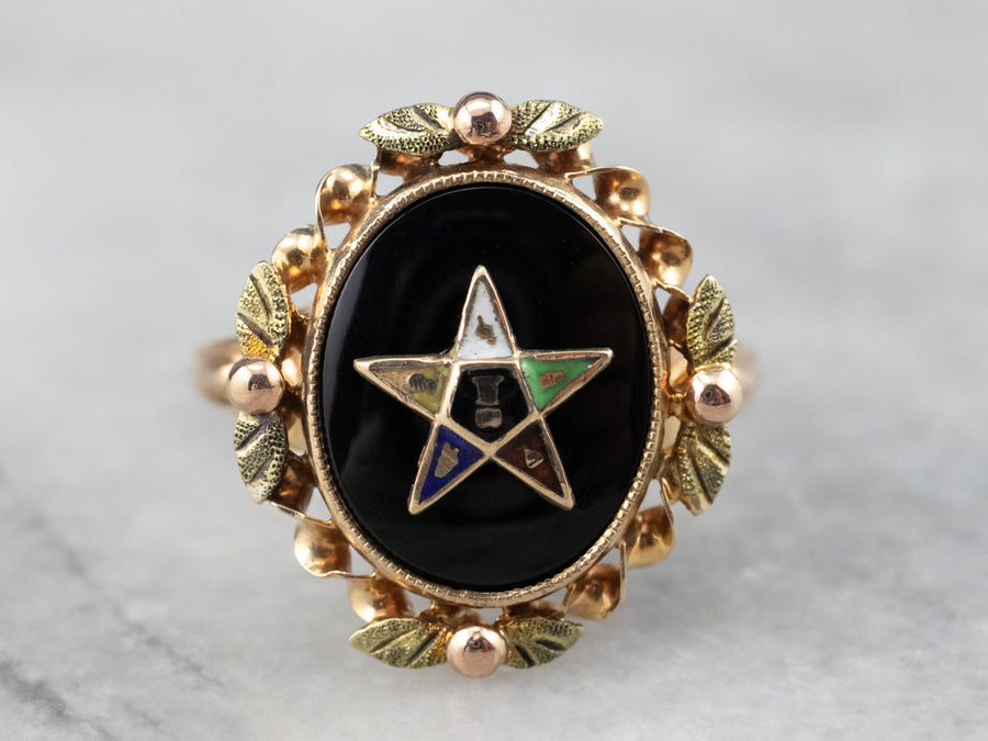Black Onyx 1940s Enamel Eastern Star Ring