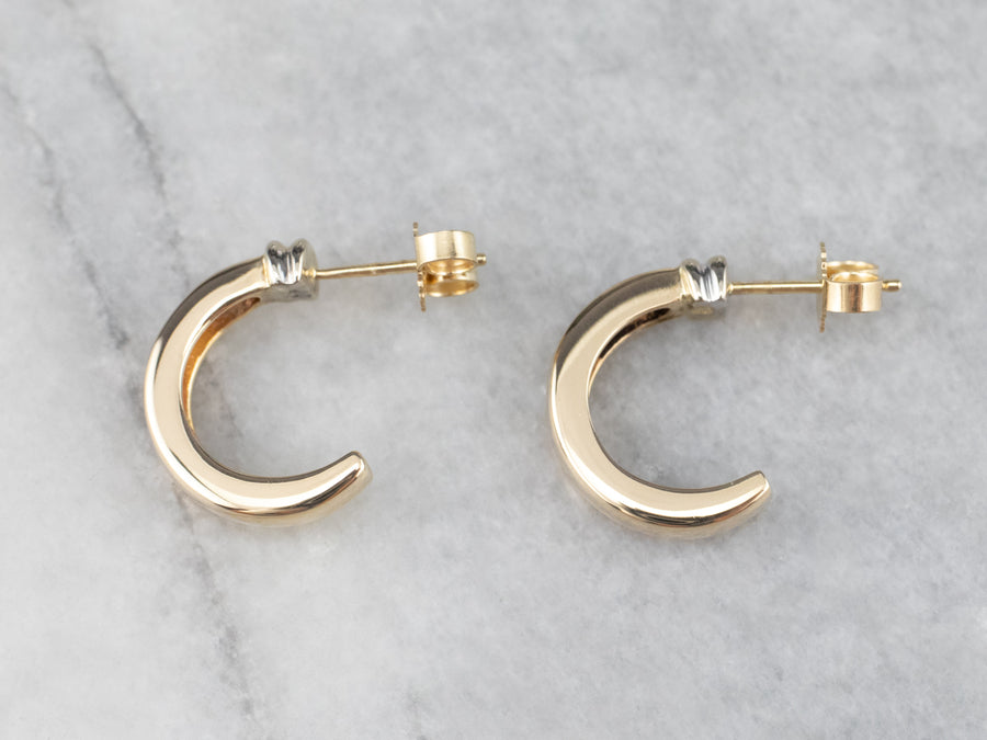 Yellow Gold Crescent Hoop Earrings