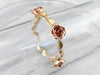 Two Tone Gold Retro Era Rose Link Bracelet