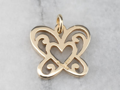 Gold Butterfly Heart Pendant