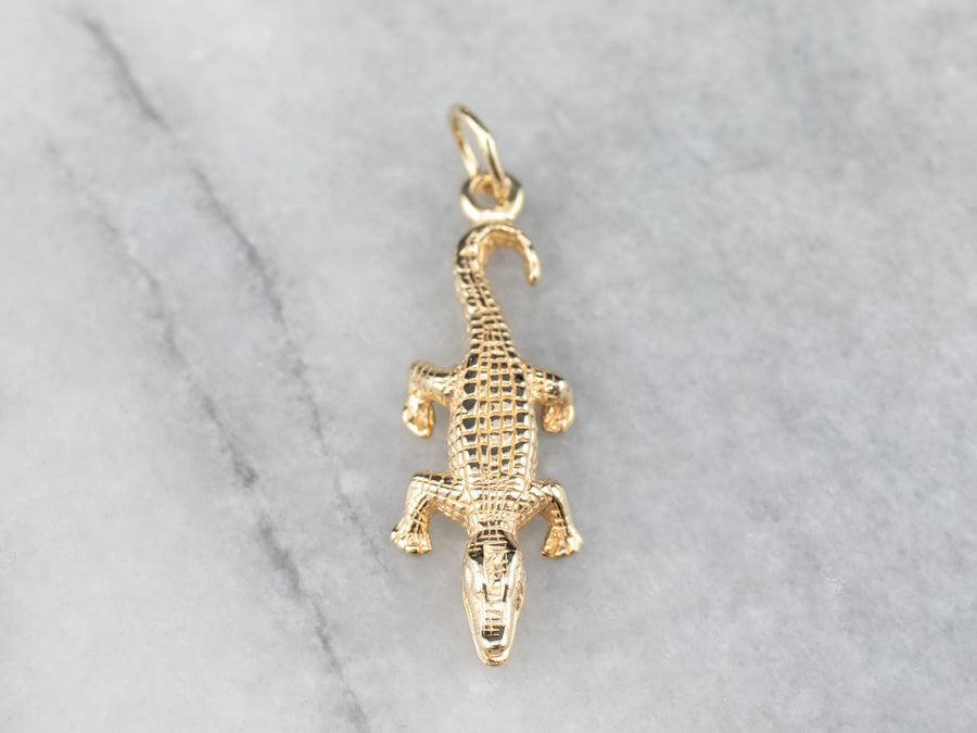 Yellow Gold Crocodile Charm
