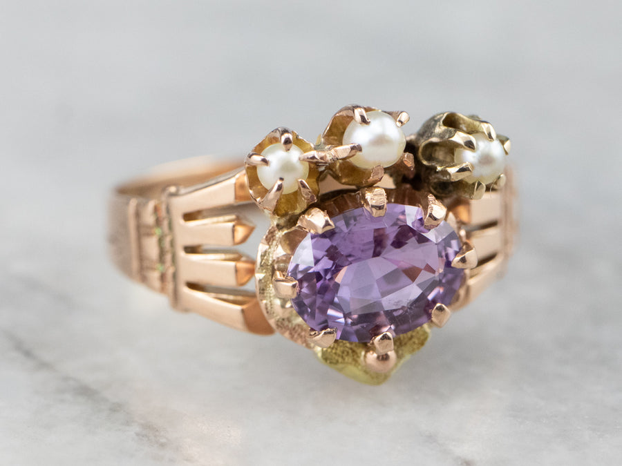 Antique Purple Sapphire and Seed Pearl Ring