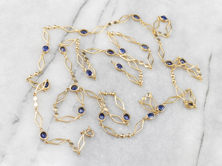 Sapphire 18K Gold Long Link Necklace