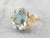 Blue Topaz Gold Filigree Statement Ring