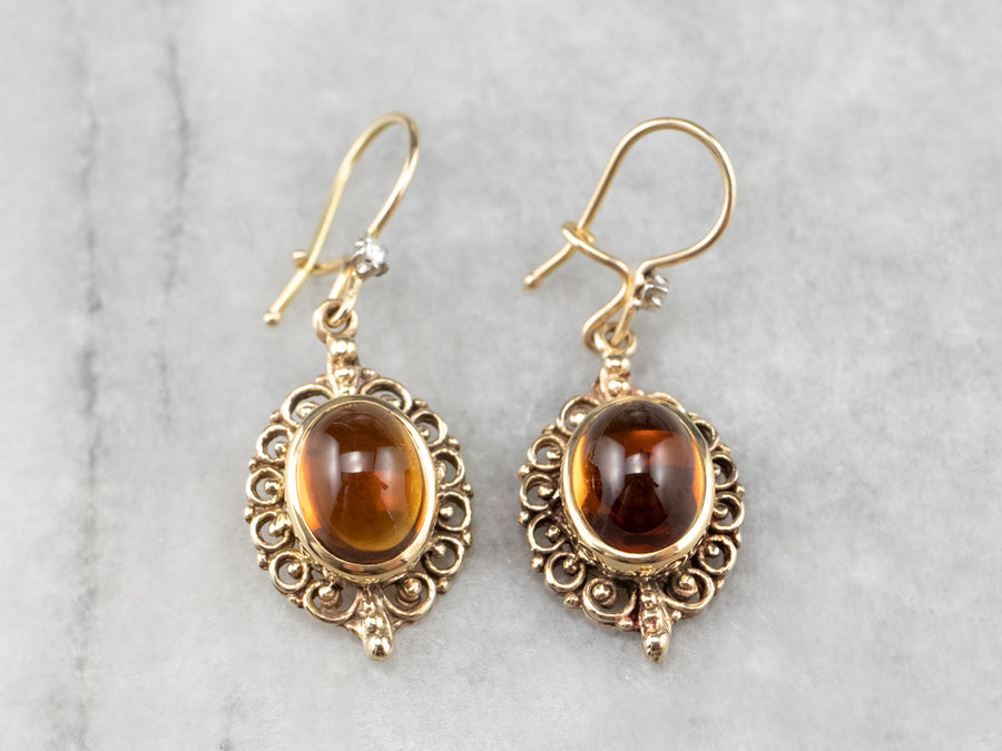 Citrine Cabochon Gold Filigree Drop Earrings