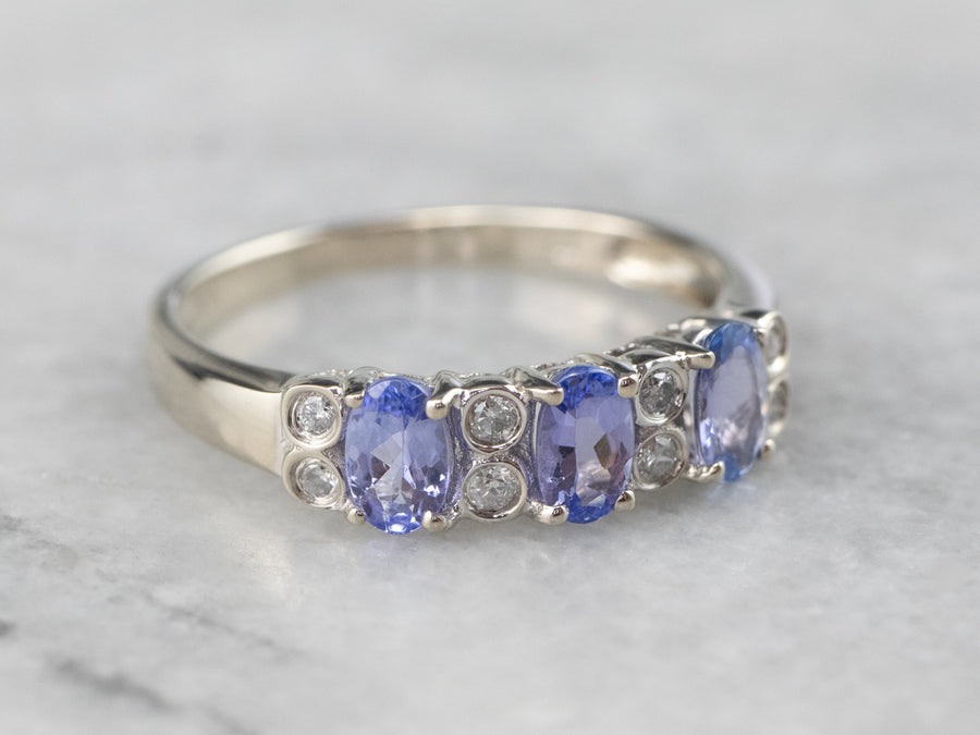 Tanzanite Diamond White Gold Band Ring