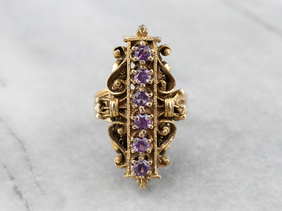 Ornate Amethyst Gold Statement Ring
