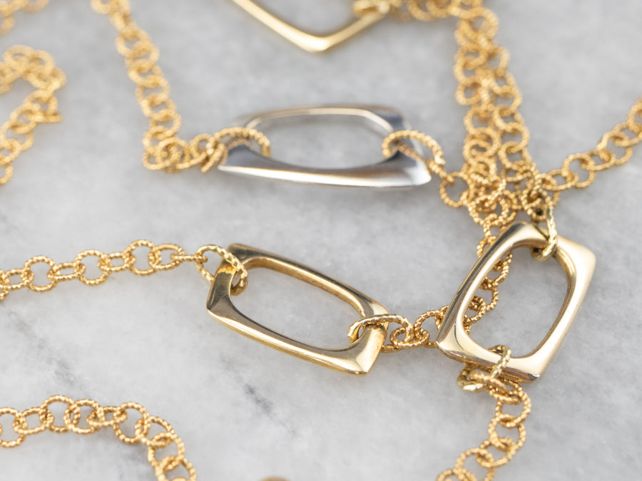 Two Tone Gold Chain Necklace with Diamond Clasp