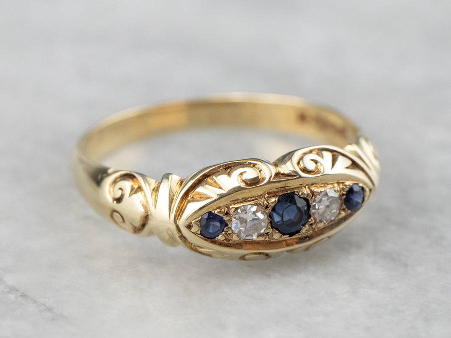 Sapphire Diamond Scrolling Gold Band Ring