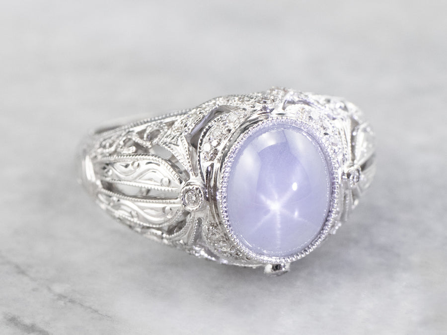 Art Deco Revival Star Sapphire Diamond White Gold Ring