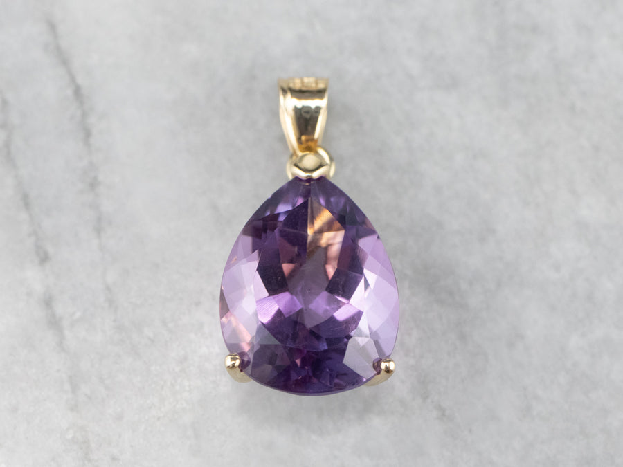 Pear Cut Amethyst Gold Pendant