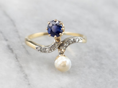 Sapphire Pearl Diamond Gold Bypass Ring