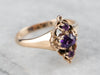 Three Stone Amethyst Gold Ring