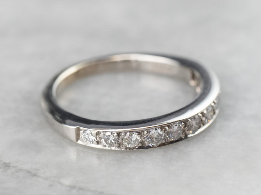 Tapered Diamond White Gold Wedding Band