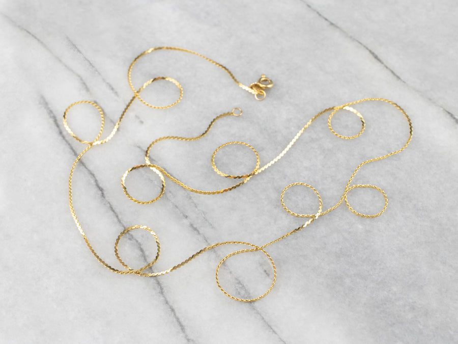 14K Gold Serpentine Chain Necklace