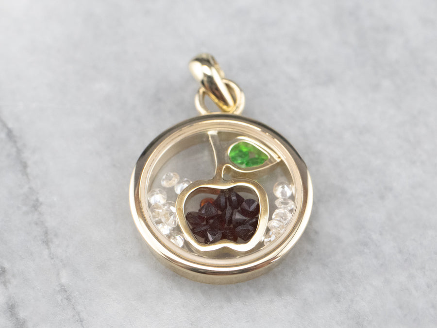 Garnet Teacher's Apple Gold Pendant