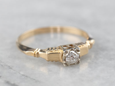 Retro Old Mine Cut Diamond Solitaire Engagement Ring