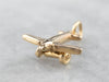 14K Gold Airplane Charm with Moving Wheels