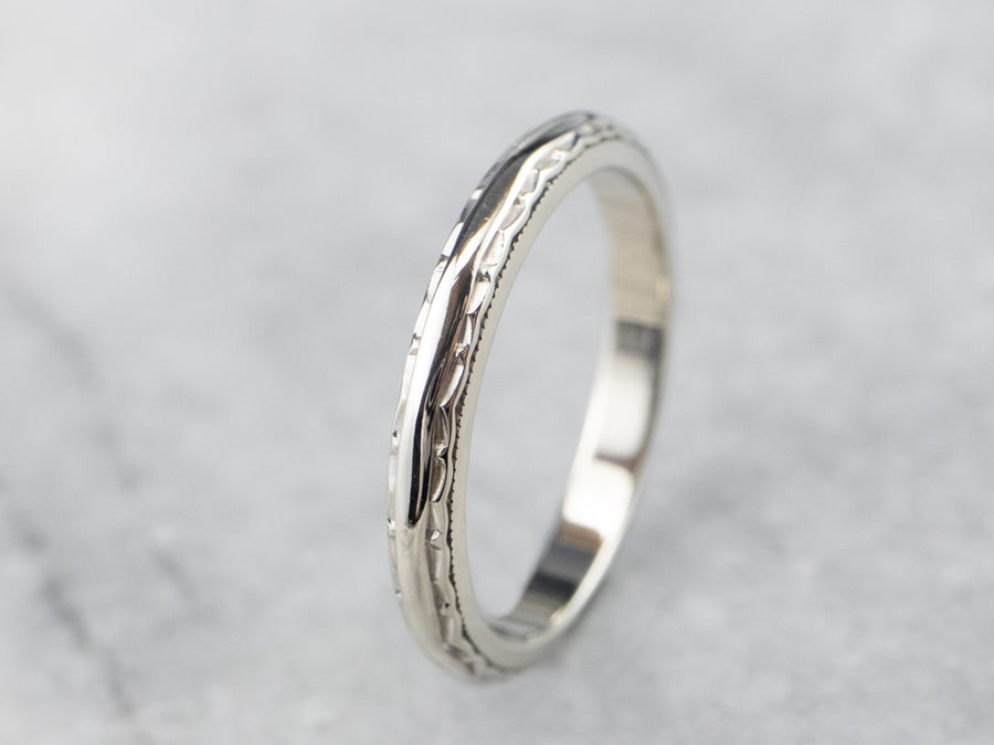 Patterned 14K White Gold Wedding Band