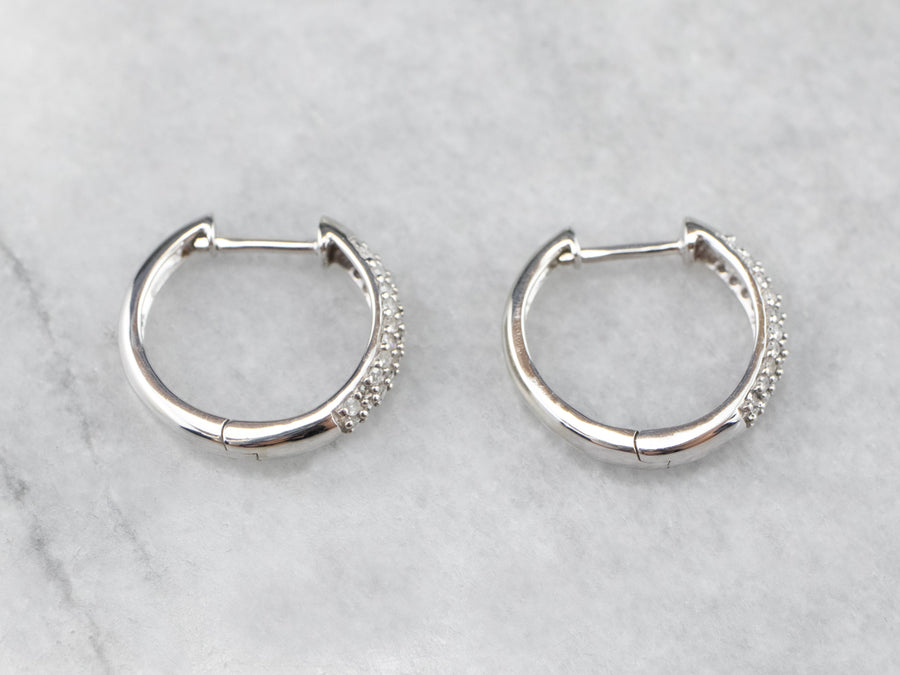 Diamond 14K White Gold Huggie Hoop Earrings