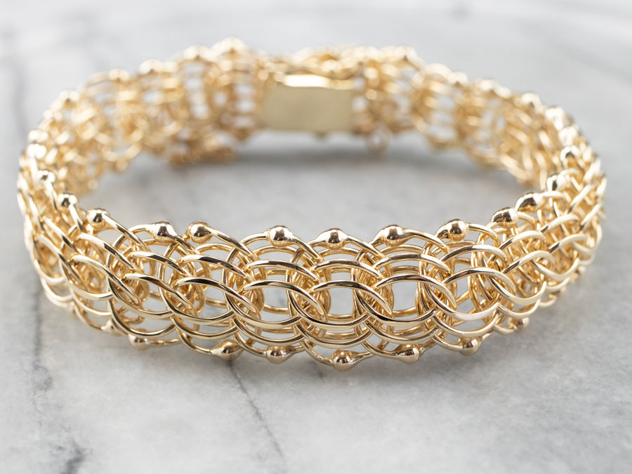 14K Gold Woven Chain Statement Bracelet