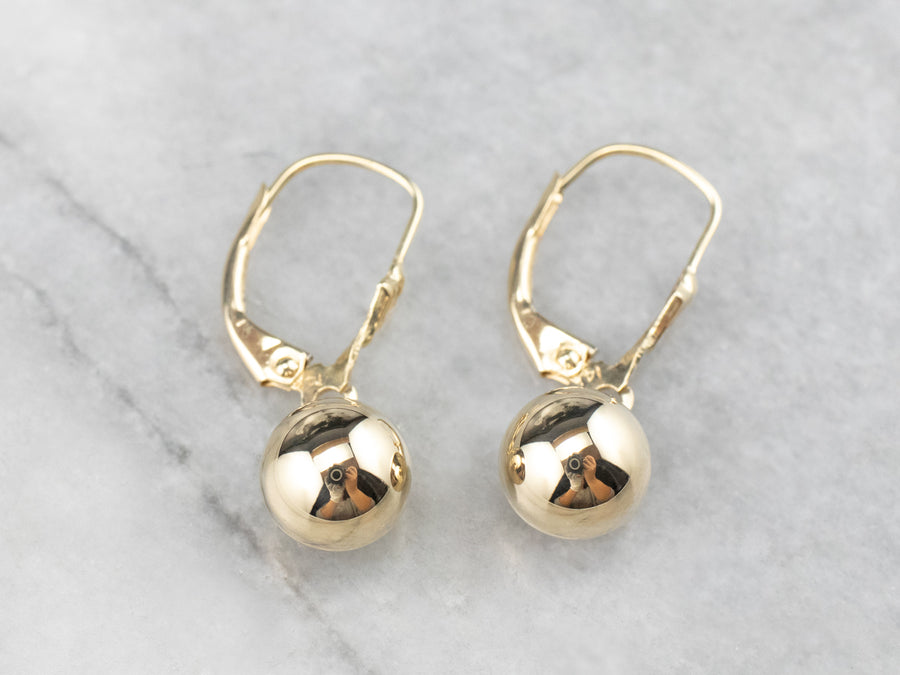 Yellow Gold Ball Drop Earrings