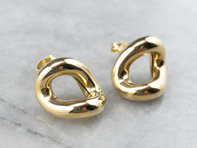 Sculptural 18K Gold Stud Earrings