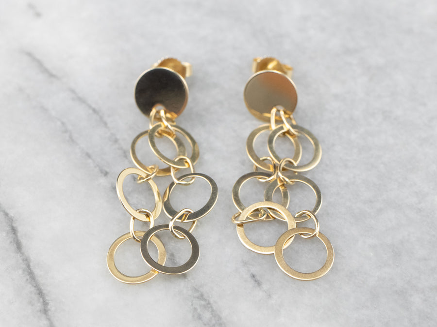 Golden Circle Drop Earrings